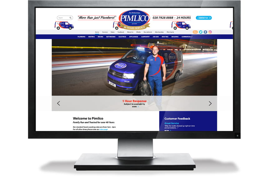 Pimlico Plumbers website design and build